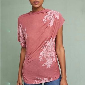 Anthropologie Tee Shirt XL Pink t.la Floral Draped